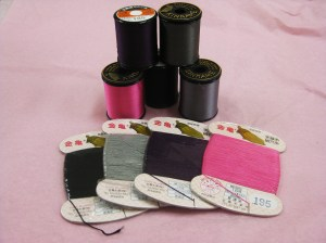 Top - #50 silk thread - all purpose Bottom - silk hand buttonhole thread