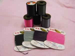 Top - #50 silk thread - all purpose Bottom - silk hand buttonhole thread