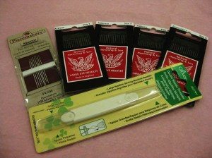 Assorted hand needles and needle threader