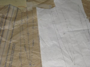 Pocket markings traced on to greaseproof for ease of marking.  Must remember to reverse the markings!