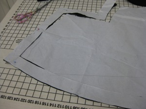 Muslin frame has been cut from the outer edges of the facing pattern piece.