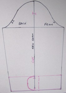 Centre seam line added to sleeve; width of facing and sleeve hem detail drawn on to KwikSew sleeve