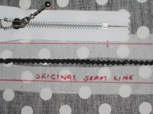 Mark seam line and position of stopper on interfaced seam.