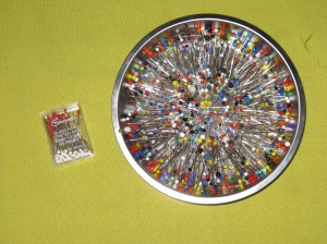 L - Stretch glass head pins R - magnetic pin dish