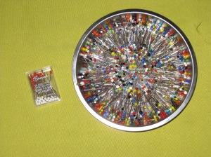 L - Stretch glass head pins R - magnetic pin dish