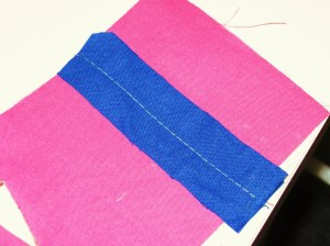 To make lips for faced method, stitch fabric strips right sides together with long straight stitch.