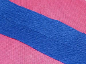 Fold fabric with right sides out and press.