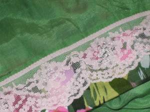 Lace added to hem of lining.