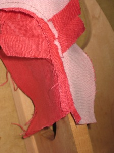 Place open seam along either a point presser or seam stick.