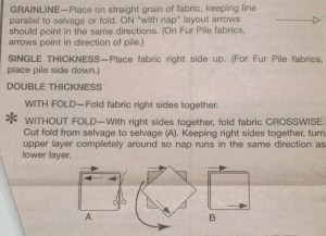Guidesheet description of fabric layout - note No Fold option - cut and turn fabric before placing right sides together.