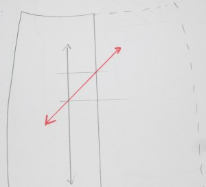"To draw a bias grain line, make a small 1""/2cm square box on the side of the existing grain line. Place ruler on opposite diagonal corners and draw a bias grain line."