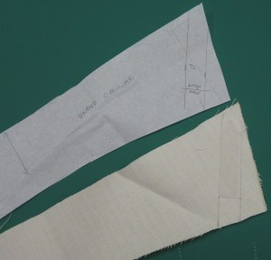 Mark position of collar stay and buttonhole on pattern and transfer stitching lines to right side of interfaced under collar.