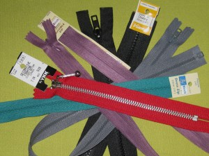 Assorted zippers
