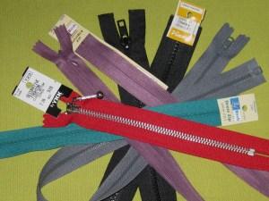 Assorted zippers