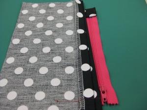 Position LHS of zipper under folded seam allowance