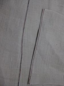 Hem using manual method on the left; hem using rolled hem foot on the right.