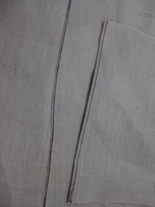 Hem using manual method on the left; hem using rolled hem foot on the right.