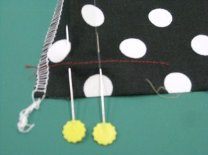 Pin mark CB and topstitching line for zipper