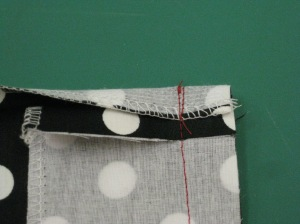 Stitch seam through all layers
