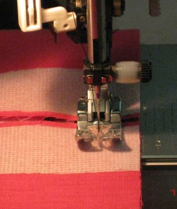Keeping cut edges even, stitch just inside the seam allowance across both garment pieces.