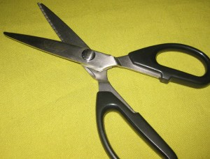 Soft Canary pinking shears - use when a smooth finish is needed