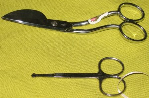 Gingher Duckbill applique scissors and Havel's lace scissors